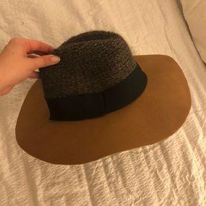 Anthropologie Bettina Wool Knit Hat Black Tan Grey